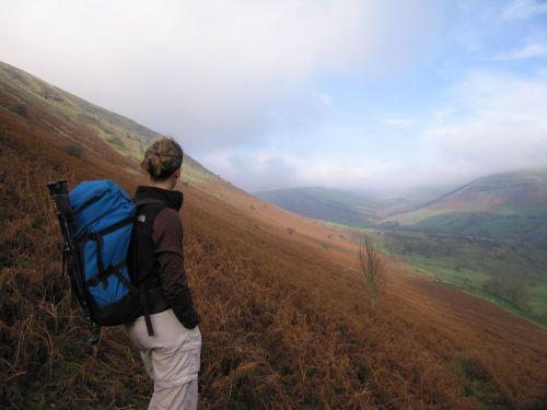 Autumn view of valley below Gospel Pass