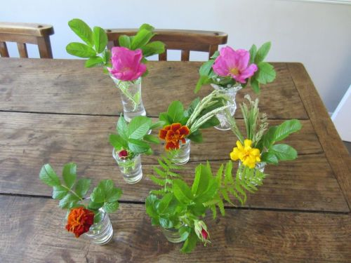 French marigold & Dog Rose flower vases